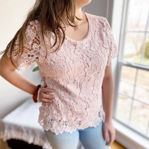 Philosophy Lace Overlay Blouse Pink Size Small